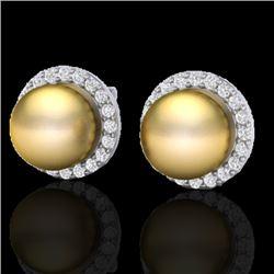 0.50 CTW Micro Pave Halo VS/SI Diamond & Pearl Earrings 18K White Gold - REF-61R3K - 21494