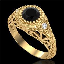 1.07 CTW Fancy Black Diamond Solitaire Engagement Art Deco Ring 18K Yellow Gold - REF-72Y5X - 37473