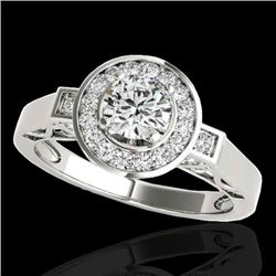 1.75 CTW H-SI/I Certified Diamond Solitaire Halo Ring 10K White Gold - REF-223M6F - 34576