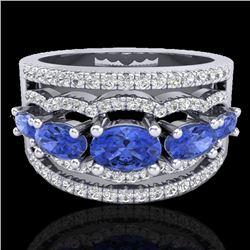 2.25 CTW Tanzanite & Micro Pave VS/SI Diamond Certified Designer Ring 10K White Gold - REF-80M2F - 2