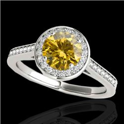 1.33 CTW Certified SI/I Fancy Intense Yellow Diamond Solitaire Halo Ring 10K White Gold - REF-174H5M