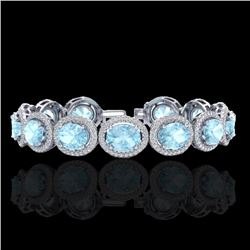 23 CTW Aquamarine & Micro Pave VS/SI Diamond Certified Bracelet 10K White Gold - REF-436F4N - 22680