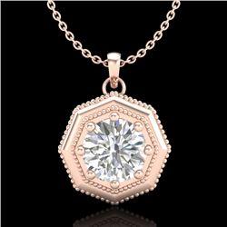 0.75 CTW VS/SI Diamond Solitaire Art Deco Stud Necklace 18K Rose Gold - REF-180N2A - 37098