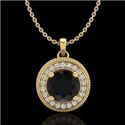 1.25 CTW Fancy Black Diamond Solitaire Art Deco Stud Necklace 18K Yellow Gold - REF-89Y3X - 38019