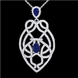 3.50 CTW Sapphire & Micro VS/SI Diamond Heart Necklace Solitaire 14K White Gold - REF-180M2F - 21252
