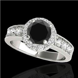 1.85 CTW Certified VS Black Diamond Solitaire Halo Ring 10K White Gold - REF-99F3N - 34534