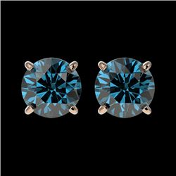 1.50 CTW Certified Intense Blue SI Diamond Solitaire Stud Earrings 10K Rose Gold - REF-127X5R - 3307