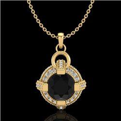 1.57 CTW Fancy Black Diamond Solitaire Micro Pave Stud Necklace 18K Yellow Gold - REF-106X4R - 37634