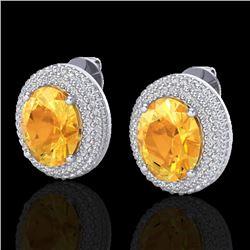 8 CTW Citrine & Micro Pave VS/SI Diamond Certified Earrings 18K White Gold - REF-151A6V - 20221
