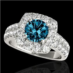 2.5 CTW SI Certified Fancy Blue Diamond Solitaire Halo Ring 10K White Gold - REF-260A2V - 33648