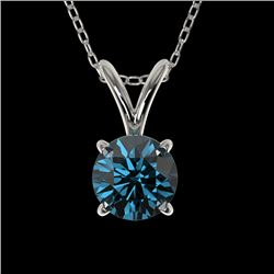 0.53 CTW Certified Intense Blue SI Diamond Solitaire Necklace 10K White Gold - REF-51K2W - 36728