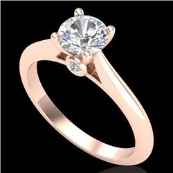 0.83 CTW VS/SI Diamond Solitaire Art Deco Ring 18K Rose Gold - REF-200Y2X - 37284