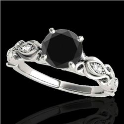 1.10 CTW Certified VS Black Diamond Solitaire Antique Ring 10K White Gold - REF-47M8F - 34633