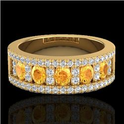 2 CTW Citrine & Micro VS/SI Diamond Certified Inspired Ring 10K Yellow Gold - REF-61N8A - 20823