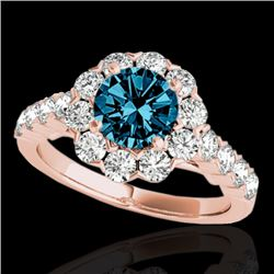 2.35 CTW SI Certified Fancy Blue Diamond Solitaire Halo Ring 10K Rose Gold - REF-218A2V - 33550