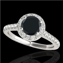 1.70 CTW Certified VS Black Diamond Solitaire Halo Ring 10K White Gold - REF-75K3W - 33592