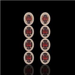 6.2 CTW Garnet & Diamond Earrings Rose Gold 10K Rose Gold - REF-102N5A - 40941