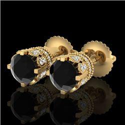 3 CTW Fancy Black Diamond Solitaire Art Deco Stud Earrings 18K Yellow Gold - REF-149M3F - 37361