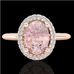 1.50 CTW Morganite & Micro VS/SI Diamond Ring Solitaire Halo 14K Rose Gold - REF-50X4R - 21014