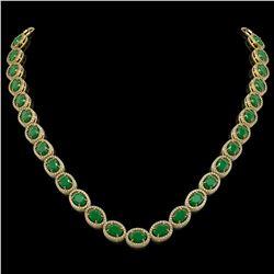52.15 CTW Emerald & Diamond Necklace Yellow Gold 10K Yellow Gold - REF-655F3N - 40948