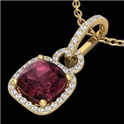 3.50 CTW Garnet & Micro VS/SI Diamond Certified Necklace 18K Yellow Gold - REF-63M3F - 22985