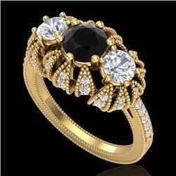 2.26 CTW Fancy Black Diamond Solitaire Art Deco 3 Stone Ring 18K Yellow Gold - REF-218V2Y - 37746