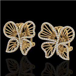1.25 CTW Designer Micro Butterfly VS/SI Diamond Certified Earrings 14K Yellow Gold - REF-106Y5X - 22