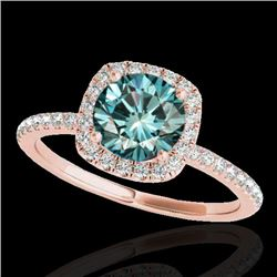 1.50 CTW SI Certified Fancy Blue Diamond Solitaire Halo Ring 10K Rose Gold - REF-180H2M - 33340