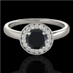 1.15 CTW Certified VS Black Diamond Solitaire Halo Ring 10K White Gold - REF-48Y2X - 33466