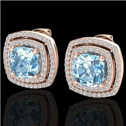 4.05 CTW Sky Blue Topaz & Micro VS/SI Diamond Halo Earrings 14K Rose Gold - REF-84N7A - 20156