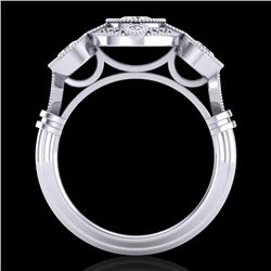 1.51 CTW VS/SI Diamond Solitaire Art Deco 3 Stone Ring 18K White Gold - REF-300H2M - 36986
