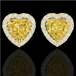 2 CTW Citrine & Micro Pave VS/SI Diamond Earrings Heart Halo 14K Yellow Gold - REF-42N4A - 21203