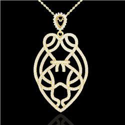 1.80 CTW Micro Pave VS/SI Diamond Heart Necklace Designer 14K Yellow Gold - REF-144A5V - 21260