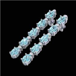 15.47 CTW Sky Blue Topaz & VS/SI Certified Diamond Earrings 10K White Gold - REF-74Y7X - 29494