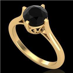 1.25 CTW Fancy Black Diamond Solitaire Engagement Art Deco Ring 18K Yellow Gold - REF-81K8W - 38061