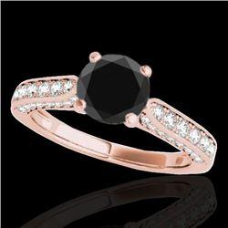 1.60 CTW Certified VS Black Diamond Solitaire Ring 10K Rose Gold - REF-79V6Y - 34920