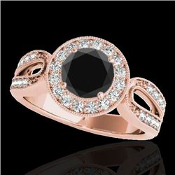 1.40 CTW Certified VS Black Diamond Solitaire Halo Ring 10K Rose Gold - REF-76M9F - 34562