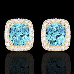 2.50 CTW Sky Blue Topaz & Micro VS/SI Diamond Certified Halo Earrings 10K Yellow Gold - REF-41F3N -