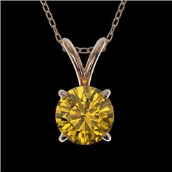 0.79 CTW Certified Intense Yellow SI Diamond Solitaire Necklace 10K Rose Gold - REF-100A5V - 36749