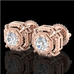 1.11 CTW VS/SI Diamond Solitaire Art Deco Stud Earrings 18K Rose Gold - REF-218M2F - 36876