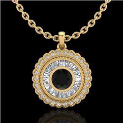 2.11 CTW Fancy Black Diamond Solitaire Art Deco Stud Necklace 18K Yellow Gold - REF-180H2M - 37914