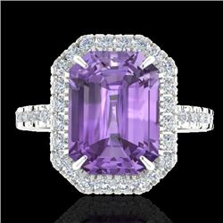 5.03 CTW Amethyst And Micro Pave VS/SI Diamond Certified Halo Ring 18K White Gold - REF-60M2F - 2141
