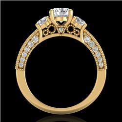 2.07 CTW VS/SI Diamond Solitaire Art Deco 3 Stone Ring 18K Yellow Gold - REF-270V2Y - 37018