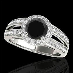 1.60 CTW Certified VS Black Diamond Solitaire Halo Ring 10K White Gold - REF-85A5V - 34250