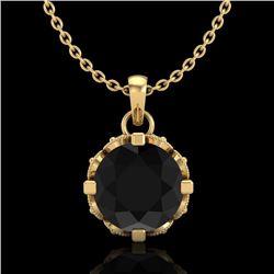 1.14 CTW Fancy Black Diamond Solitaire Art Deco Stud Necklace 18K Yellow Gold - REF-81A8V - 37375