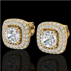 2.16 CTW Micro Pave VS/SI Diamond Earrings Solitaire Double Halo 18K Yellow Gold - REF-250X2R - 2034