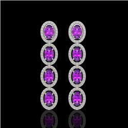 5.56 CTW Amethyst & Diamond Earrings White Gold 10K White Gold - REF-103M3F - 40934