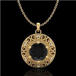 1.11 CTW Fancy Black Diamond Solitaire Art Deco Stud Necklace 18K Yellow Gold - REF-87H3M - 37564