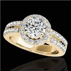 1.50 CTW H-SI/I Certified Diamond Solitaire Halo Ring 10K Yellow Gold - REF-180H2M - 33991