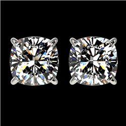 2 CTW Certified VS/SI Quality Cushion Cut Diamond Stud Earrings 10K White Gold - REF-585Y2X - 33097
